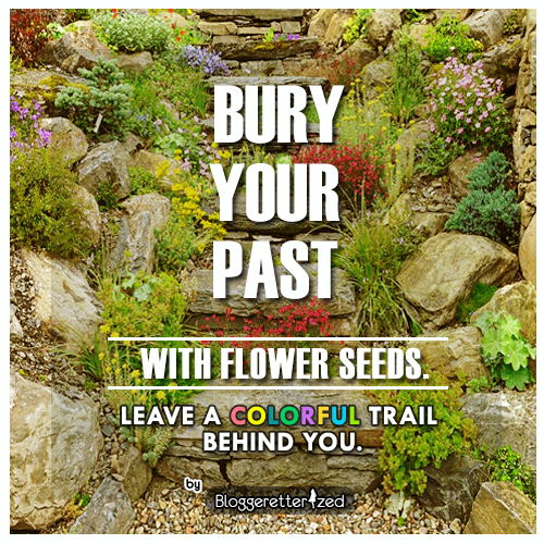 Bury your past with flower seeds. Leave a colorful trail behind you. Quote text by Bloggeretterized. Wednesday Fuel