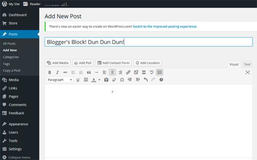 Bloggeretterized Blogger's Block