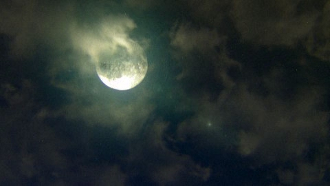 Halloween Night: spooky moon and clouds